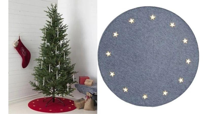 Juletræstæppe med lysende stjerner