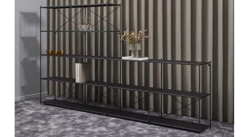 Moderne reolsystem til stuen - Sort metal