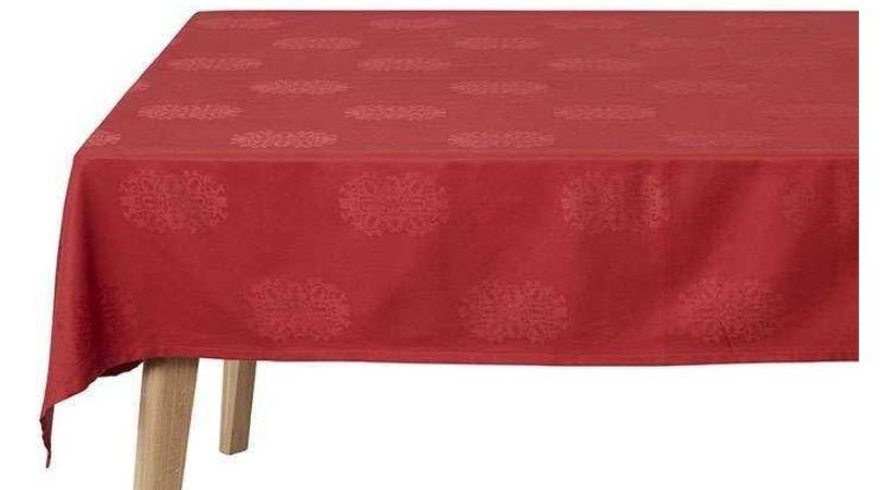 Rød juledug i stof - Rund eller firkantet (metermål)