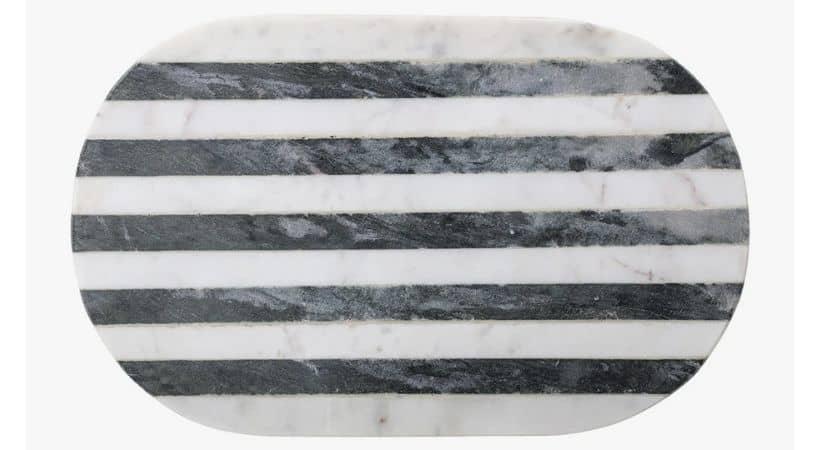 Marmor skærebræt - Sort og hvid