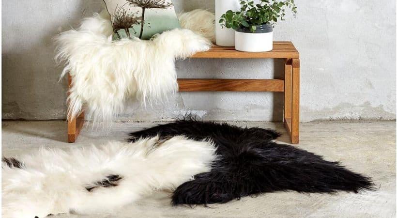 Langhåret lammeskindstæppe