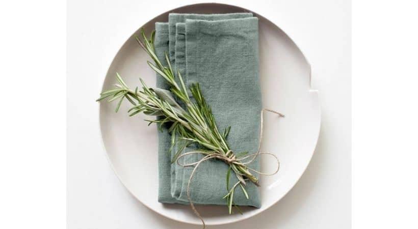Grønne stofservietter i økologisk hør