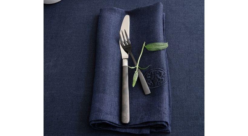 Hørservietter - 6 stk. blå servietter i hør