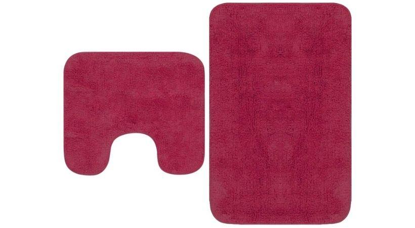 Rødt måttesæt - Bademåtte og toiletmåtte