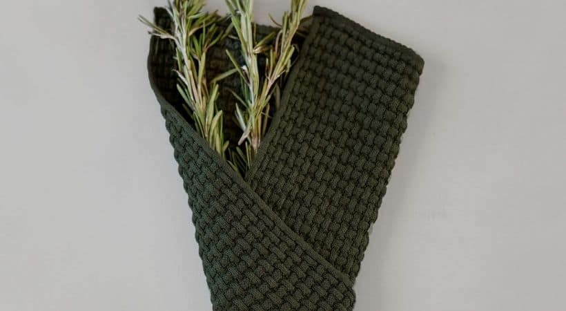 Grønne karklude med vaffel-mønster