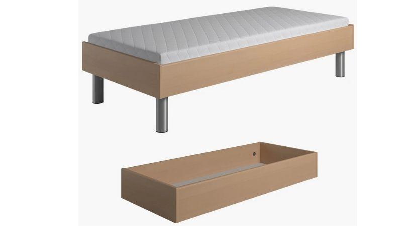 Billig enkeltseng med opbevaring - 145-180 cm sengeskuffe (tilkøb)