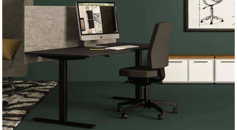 Delta hæve-sænkebord - Sort linoleum-bordplade og stel