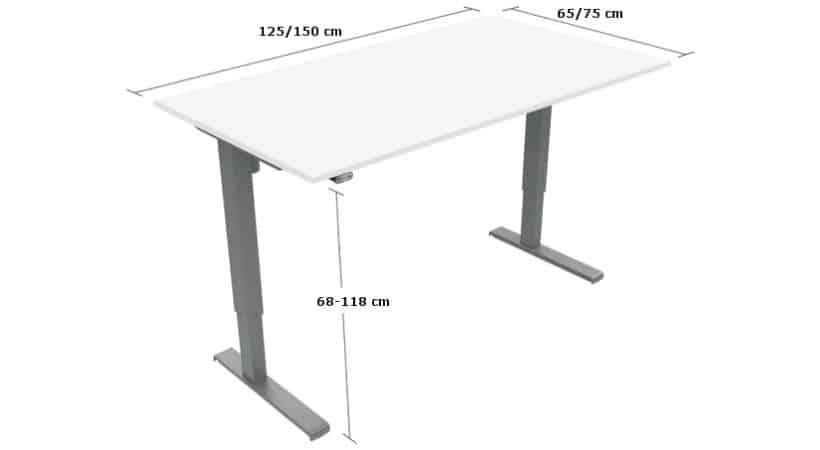 Elektrisk hvidt hæve-sænke-bord - Basic