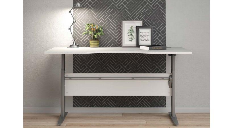 Prima hævesænkebord - Hvid med gråt stel i stål