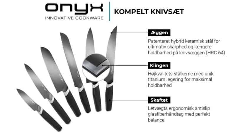 Onyx - Komplet knivsæt med 6 langtidsholdbare knive